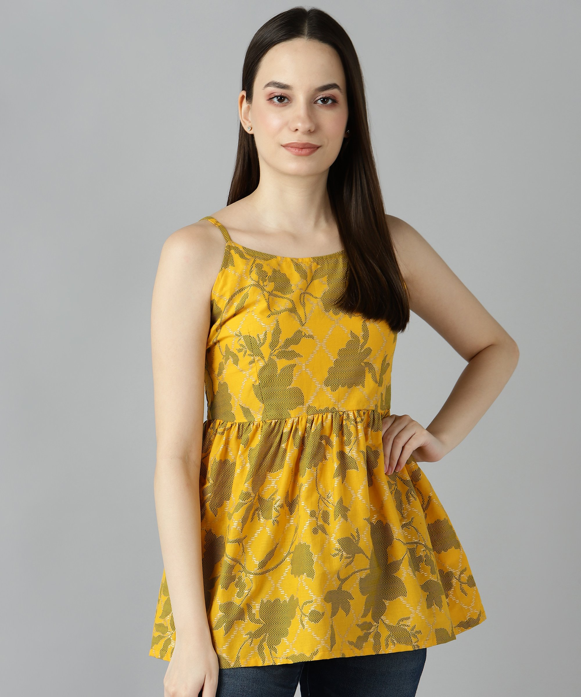 ZNX CLOTHING |  Women Yellow Gold Printed Top