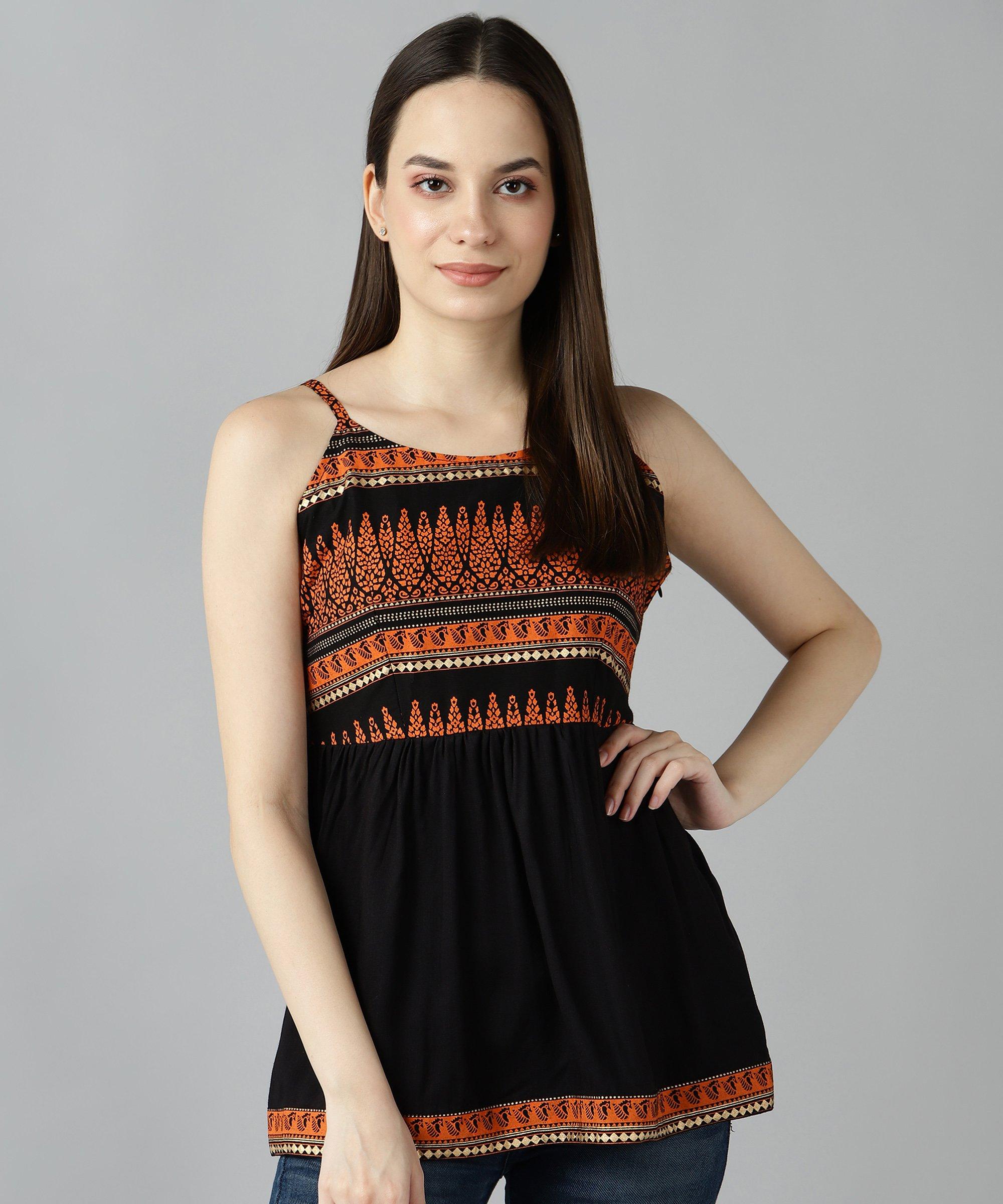 ZNX CLOTHING |  Women Orange Gold Printed Black Top