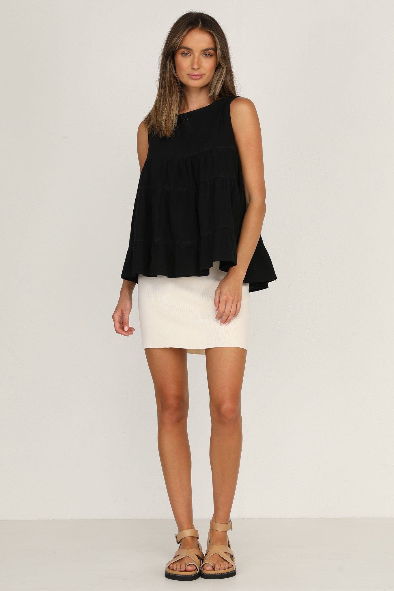 ZNX CLOTHING |  Women Tiered Solid Black Top