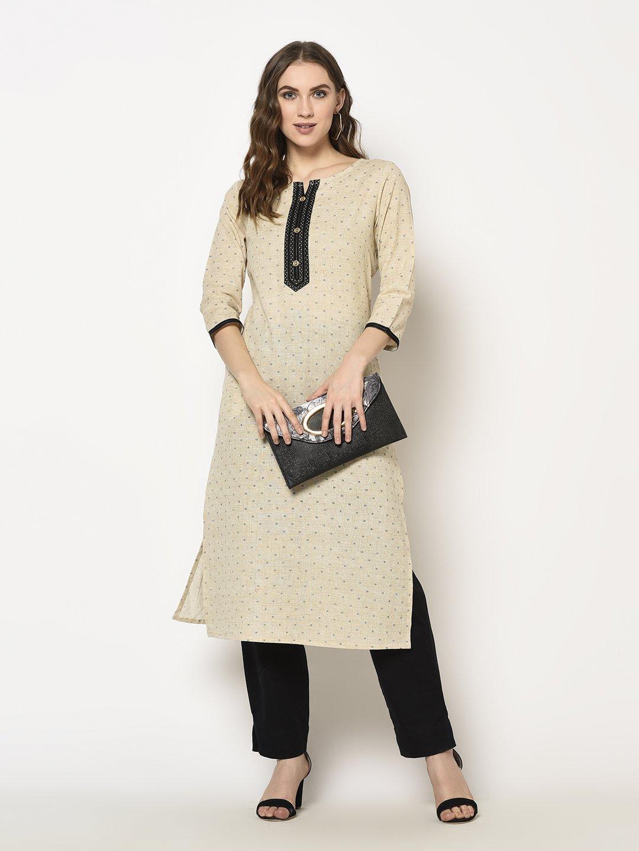 ZNX CLOTHING |  Women Brown Printed Straight  Kurta with Pant Set