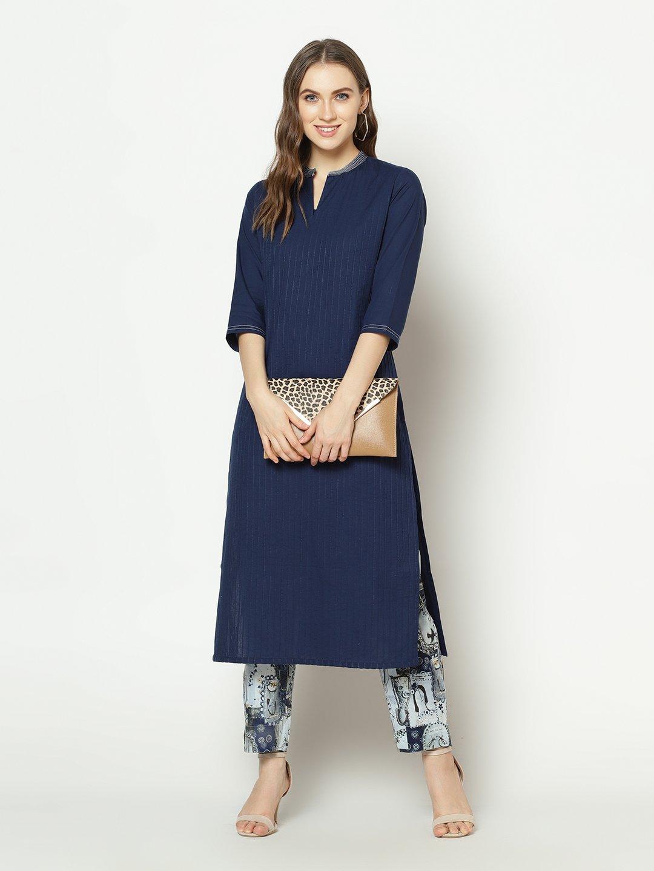 ZNX CLOTHING |  Women Blue Solid Straight  Kurta with Pant Set