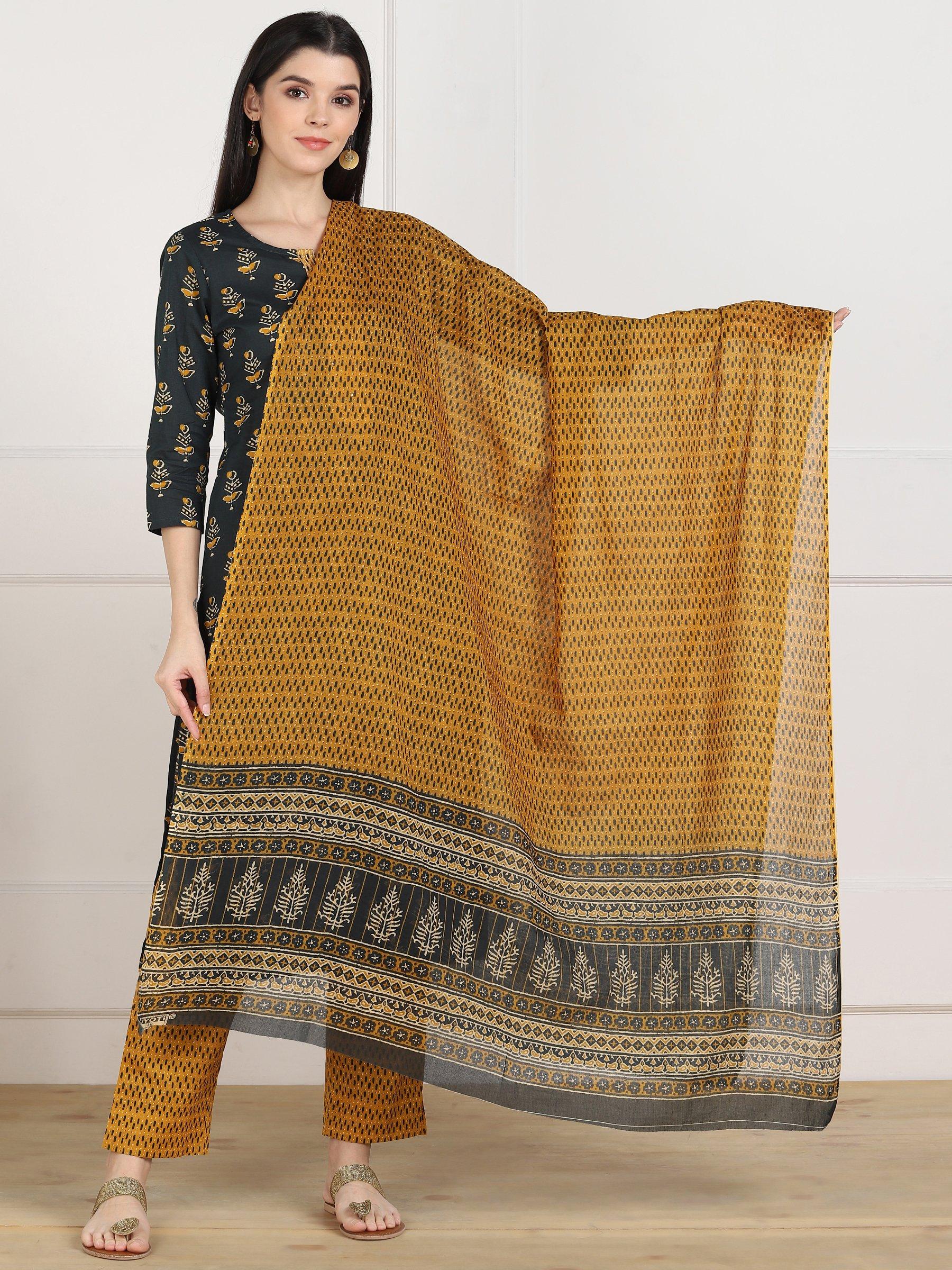ZNX CLOTHING |  Women Multicolor Printed Straight  Kurta with Palazzo & Dupatta Set