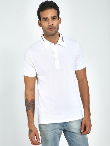 Blue Saint   Blue Saint Men's White Regular Fit T-Shirts