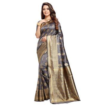POONAM TEXTILE | Gorgeous Grey Banarasi Jacquard Silk Reception Saree