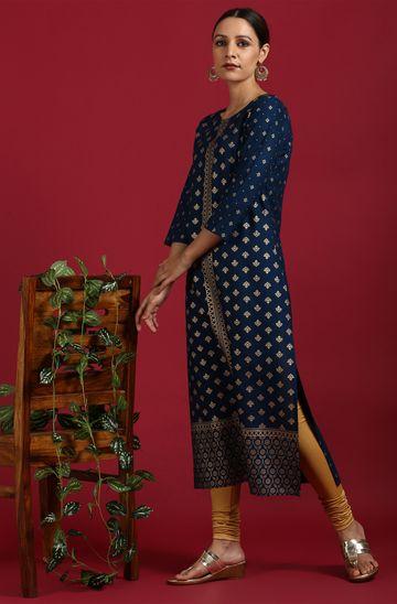 Janasya | Janasya Women's Dark Blue Rayon Kurta
