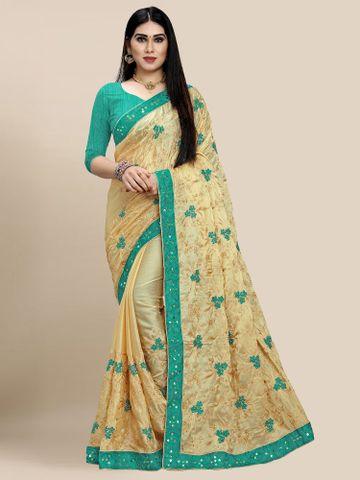 SATIMA | Latest Turquoise Colour Embroidered Chiffon Saree