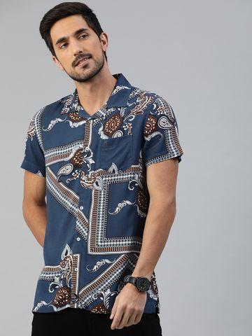 The Bear House | Men's Printed Bowling Collar Shirt