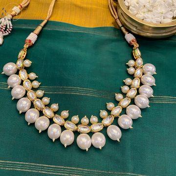 Swabhimann Jwellery   Swabhimann Jwellery Amika Pearl Duo Necklace White
