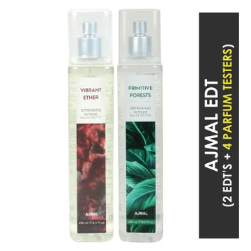 Ajmal | Ajmal Vibrant Ether & Primitive Forests EDT  pack of 2 each 250ml (Total 500ML) for Unisex + 4 Parfum Testers