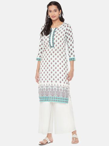 Ethnicity | Polystaple Straight Women Off White Kurta