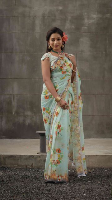 SATIMA | Satima Flower Print Yellow Satin Saree