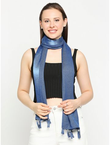 Get Wrapped | Get Wrapped Lurex Blue Scarves with Tassels for Women