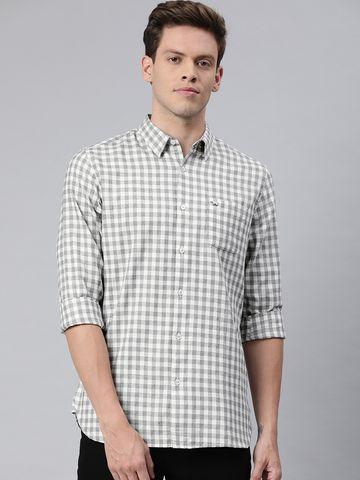 The Bear House | Men's Grey Checkered Formal Shirt