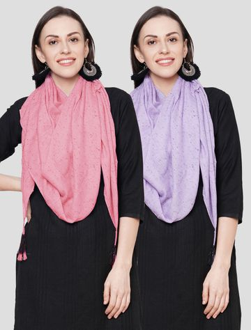 Get Wrapped | Get Wrapped Multi Viscose Self Design Scarves for Women - Pack of 2