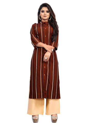 SATIMA | Brown Crepe Women Kurta Palazzo Set