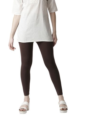 De Moza | De Moza Women's 3/4Th Length Leggings Solid Viscose Brown