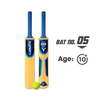 Playnxt   Playnxt Pro Cricket Bat No. 5 For Kids & Adults, 9Y+ (Ivory Yellow )