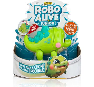 Robo Alive   Robo Alive Junior Battery-Powered Baby Green Crocodile Bath Toy & Accessories for Kids age 18M +