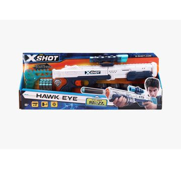 X-Shot | X-Shot Plastic Excel Hawk Eye 5 Cans With 12 Dart (White)