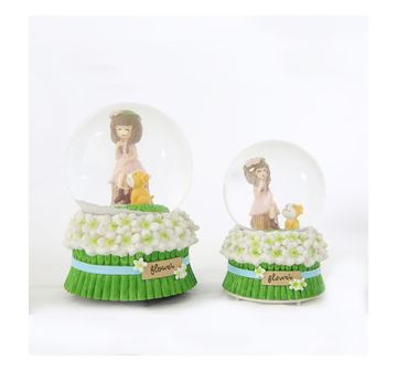 Karma | Green Flower Girl Snowglobe 100Mm