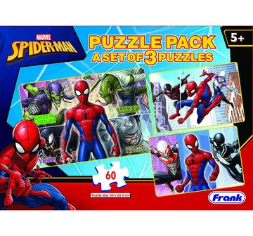 Frank | Frank Marvel'S Spider-Man Puzzle Pack - 3X 60 Pieces Puzzle For 5 Year Old Kids And Above