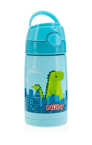 Mothercare | Nuby Stainless Steel Thin Straw Pop-Up 300ml Blue Dino