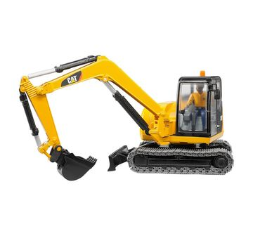Cat | CAT Bruder 1:16 Caterpillar Mini Excavator with Worker Vehicles for Kids age 3Y+ (Yellow)