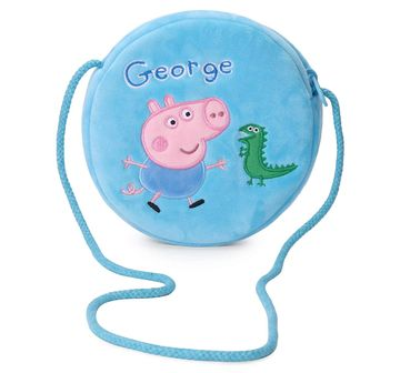 Peppa Pig | Peppa Pig George with Dino Round Sling Bag Plush Accessory for Kids age 3Y+ - 16 Cm (Blue)