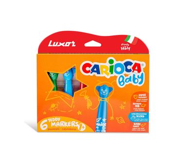 Luxor | Luxor Carioca Teddy Marker 1+ Rounded Felt Tip Pens School Stationary for Kids age 1Y+