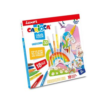 Luxor | Luxor Carioca Unicorn-3D Pop-Up Model+ 18 Color School Stationery for Kids age 5Y+