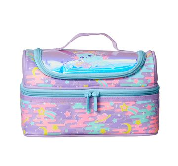 Smiggle    Smiggle Far Away Double Decker Lunchbox - Cat Print Bags for Kids age 3Y+ (Lilac)