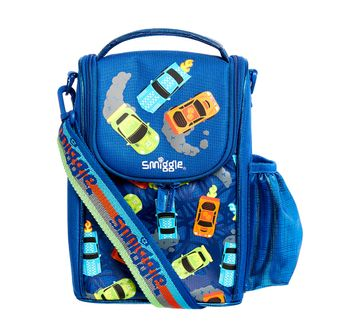 Smiggle   Smiggle Whirl Junior Lunchbox with Strap Car Print