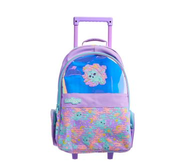 Smiggle | Smiggle Far Away Trolley Backpack with Light Up Wheels Cat Print Lilac Bags for Kids age 3Y+