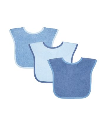 Mothercare | Mothercare Toddler Towelling 3 pack Bibs Blue