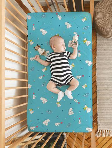 Mothercare | Rabitat 100% Organic Cotton Flat Sheet  (So The Adventure Begins)