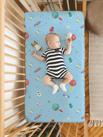 Mothercare | Rabitat 100% Organic Cotton Fitted Sheet (Love You To The Moon)