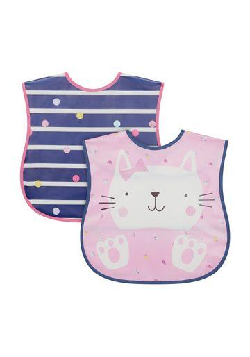 Mothercare | Mothercare Toddler Crumbcatcher 2Pk Cat Bibs & Burp Cloths Multi