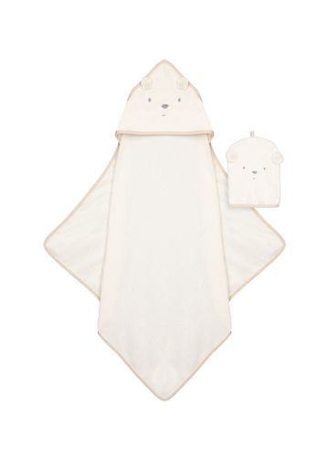 Mothercare | Mothercare Little And Loved Cuddel and Dry Baby Towels Mitt Off White