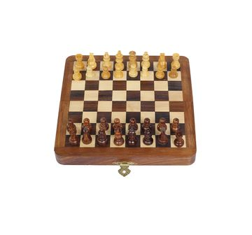 "Desi Toys | Desi Toys Magnetic Folding Chess Set 12"", Chumbak Satranj for Kids age 5Y+ - 5.08 Cm (Brown)"