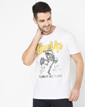 GAS | Men's Scuba/S Riseup White Printed T-shirt