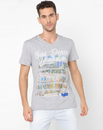 GAS | Men's Arkell/S V. Surf Grey Printed T-shirt