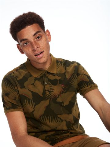 Scotch & Soda | Green Printed Polo T-Shirt