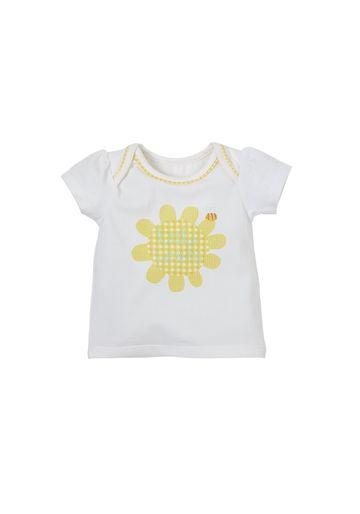 Mothercare   Girls Half Sleeves T-Shirt Flower Print - White