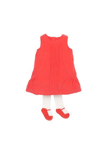Mothercare | Girls Sleeveless Cord Dress With Tights - Pink