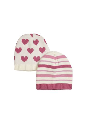 Mothercare | Girls  Beanie Striped And Heart Design - Pack Of 2 - Pink