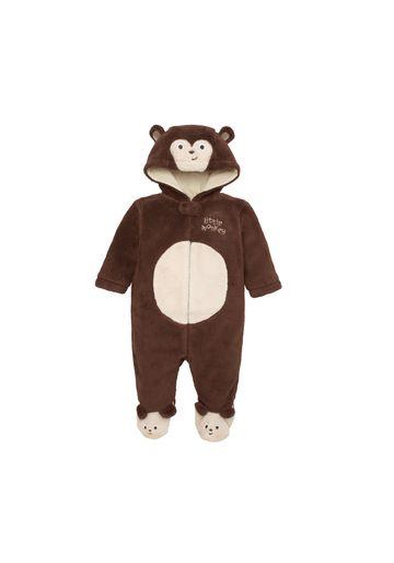 Mothercare | Boys Full Sleeves Fluffy Romper 3D Monkey Detail - Brown