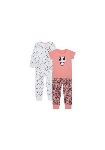 Mothercare | Girls Full Sleeves Pyjama Set Panda Patchwork - Pack Of 2 - Pink Grey