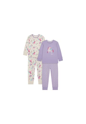 Mothercare | Girls Full Sleeves Pyjama Set Party Horse Embroidery - Pack Of 2 - Purple Cream