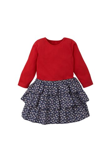 Mothercare | Girls Full Sleeves Tiered Dress Floral Print - Red