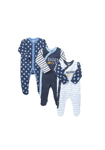 Mothercare | Boys Full Sleeves Sleepsuit Star And Slogan Print - Pack Of 3 - Blue